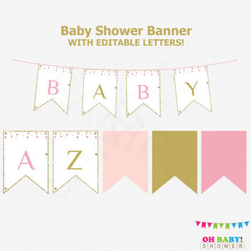 Pink Gold Baby Shower Banner, Editable, Twinkle Twinkle Little Star Baby Shower, Girl Baby Shower Decor, Printable Baby Shower Banner, STPG