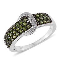Russian Chrome Diopside Buckle Ring