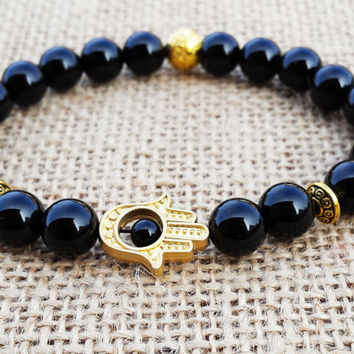 Hamsa Bracelet Black Onyx Bracelet Golden Hamsa meditation protection Onyx Bracelet Beaded Men Mala Japa Mala Yoga Jewelry Tibetan Men Mala
