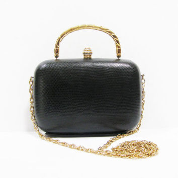 Black Box Purse - Another Y & S Original - Small Black Hard Frame Handbag - Holiday Bag -  Jewel Clasp - Gold Chain - Faux Reptile Leather