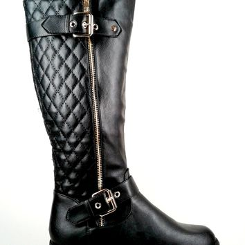 Women's Faux Leather Boot with Zipper Detail and Quilt Design