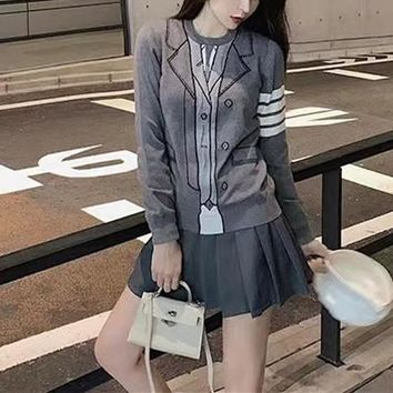 """Thom Browne"" Women Fashion Casual Solid Color Logo Long Sleeve Cardigan Set Two Piece V-Neck Knitwear Sweater Coat"