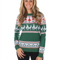 Women's Ugly Christmas Sweater - Reindeer Conga Line Fair Isle Sweater Green