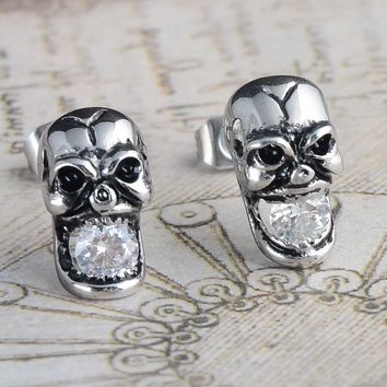 Punk Rock Skull Stud Earrings with Crystal Stainless Steel Vintage Trendy