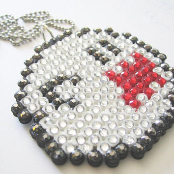 Sparkly Boo Ghost Super Mario Nintendo In Green Blingy Rhinestone Crystal Necklace
