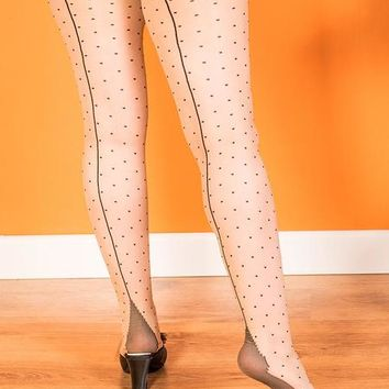 Seamed Tights Polka Dot Black H2023