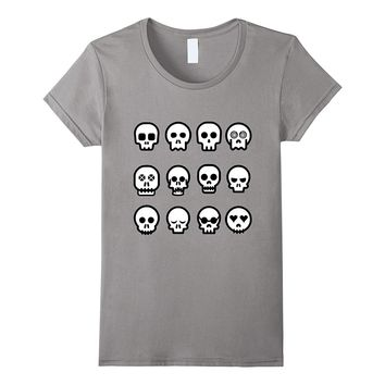 Skull Emoji Shirt Cool Skeleton Faces Scary Spooky T-Shirt