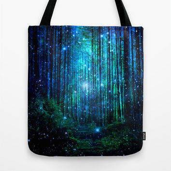 forest tote bag.blue green tote bag.forest canvas bag.trees tote bag.magical tote bag.night tote bag.Tolkien's woods tote.Narnia tote bag