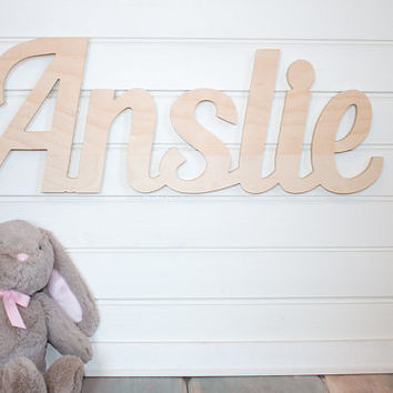 nursery name sign Baby Name Plaque DIY Large Unpainted Personalized nursery baby name wall hanging nursery wooden wall art above a crib