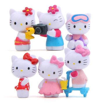 6pcs/lot  Hello Kitty Cat Action Figure Toys PVC Japanes Anime Hello Kitty Figures Cute Christmas Party for Model Toy Gifts