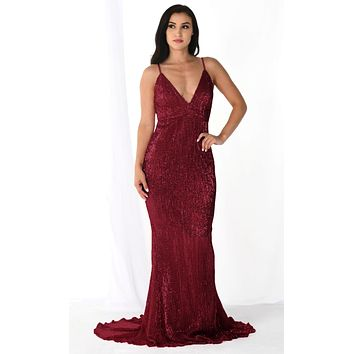 Fire and Ice Burgundy Red Wine Sequin Sleeveless Spaghetti Strap Plunge V Neck Backless Fishtail Mermaid Maxi Dress