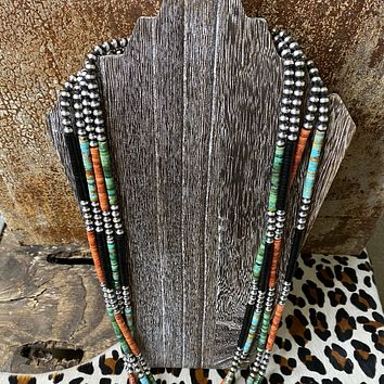 Genuine Green Turquoise, Spiny Oyster, Onyx with Navajo Beads Necklace