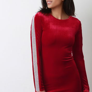 Velvet Long Sleeve Rhinestone Embellished Mini Dress