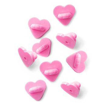 Heart-Shaped Rubber Pin Backs - Pink (Set of 9)