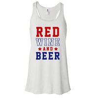 Red Wine And Beer, July 4th Shirt, July Fourth Women's Graphic Tank Top