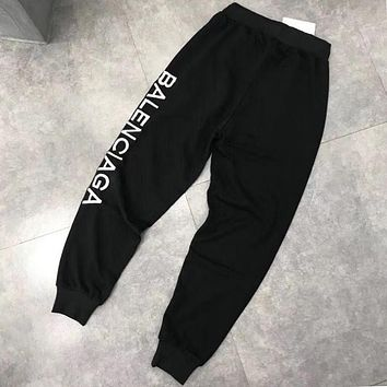 Balenciaga Newest Popular Women Men Leisure Letter Embroidery Sport Pants Trousers Sweatpants Black