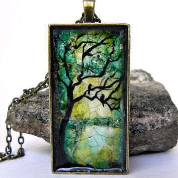 "BIRD Silhouette TREE of Life Pendant Necklace Abstract ART Bronze 24"" chain"