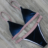 Velvet Bikini Women Swimsuit Metal Ring Bikini Set