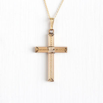 Vintage 10k Rosy Yellow Gold Filled Cross Necklace - 1940s Flower Geometric Design Crucifix Religious Faith Pendant on 14k GF Chain Jewelry