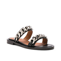 Givenchy Leather Two Strap Chain Flat Sandals in Black | FWRD