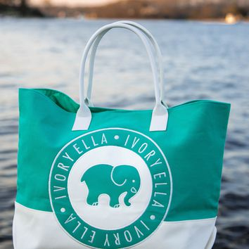 June Green and White Surprise Beach Tote