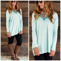 Galloway Mint Piko Long Sleeve Top