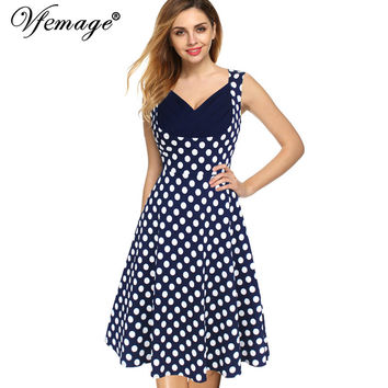Vfemage Women's Summer Elegant Vintage Draped Frill Polka Dot Patchwork Sleeveless A-Line Dress