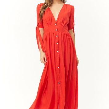 Woven Button-Front Maxi Dress