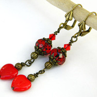 Red Valentine Earrings Handcrafted Czech Glass Heart Swarovski Crystal Short Dangle