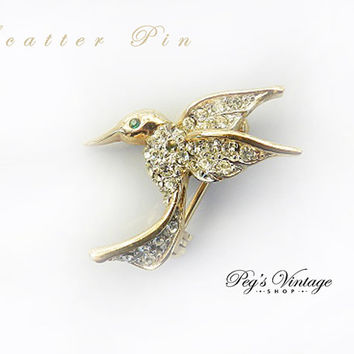 Vintage Hummingbird Lapel Scatter Pin Gold Tone and Clear Rhinestone Figural Bird Brooch