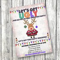 Ugly Christmas Sweater Party Prints or Digital File vintage snowflake photo holiday greeting card 5x7