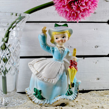 Lefton ESD Miss Dainty with Umbrella , Collectible Planter with Blue and Yellow colors