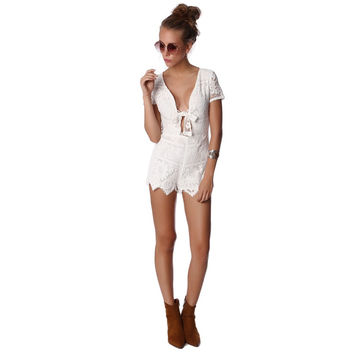 White Crochet Romper with Front Bow