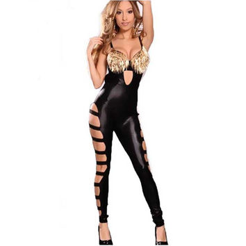 Sexy Faux Leather Catsuit Jumpsuit Sexy Costume Sexy Women Hollow out Jumpsuit Rivet Club Sexy Bandage Catsuit 2016 W207983