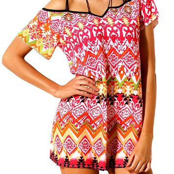 Chic Rosy Bohemian Pattern Flutter Sleeves Beach Tunic