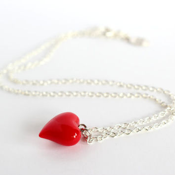 """Glass Heart Necklace (20"""")"""