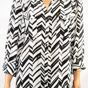 NY Collection Women Roll Tab Sleeve Black Chevron Print Button Down Shirt Top L