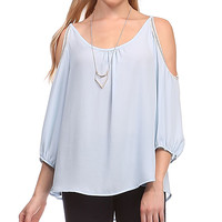 Le Lis Collection Light Blue Embellished Cutout Top | zulily