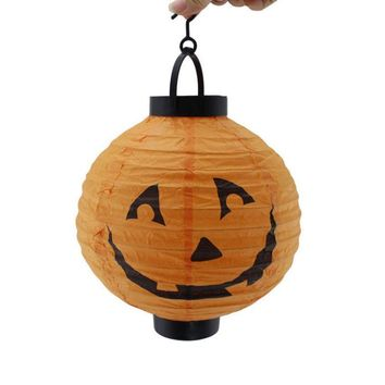 Lantern Pumpkin Spider Bat Hanging LED Paper Light Lamp