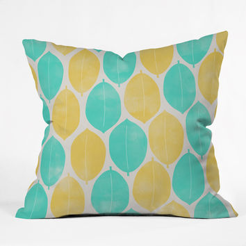 Allyson Johnson Summer Leaves Outdoor Throw Pillow