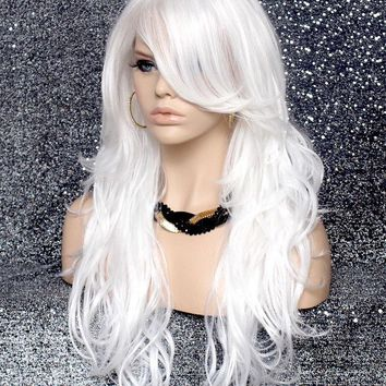 Stunning Long Beach wave wig HEAT SAFE Hair piece bangs Skin Top White wnta 60