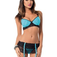 Midnight Hottie Bra and Garterbelt
