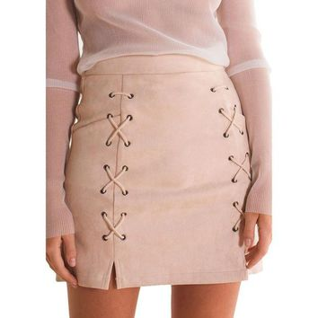 DCCKDZ2 Autumn Winter A-line High Waist Suede Leather Skirt Women Solid Lace up Vintage Preppy Casual Mini Skirts Black Nude