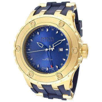 Invicta 12036 Men's Reserve Subaqua Diver Blue Dial Rubber Strap Gold Tone Stainless Steel GMT Dive Watch