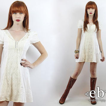 Vintage 70s White Puff Sleeve Lace Mini Dress XXS White Mini Dress White Dress Summer Dress Babydoll Dress Hippie Dress Hippy Dress