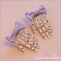Skull Hand & Bow Earrings - Black or Lilac