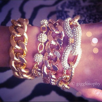 chunky link chain bracelet  rose gold or gold by gigglosophy