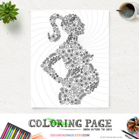 Coloring Page Mom To Be Printable Art Instant Download Art Print Zen Printable Adult Coloring Book Anti Stress Art Therapy DIY Coloring Book