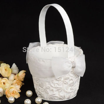 Free shipping,White Lace Bridal Tapestry Satin Flower Girl Basket Wedding Party Christmas Favors Accessories HL11