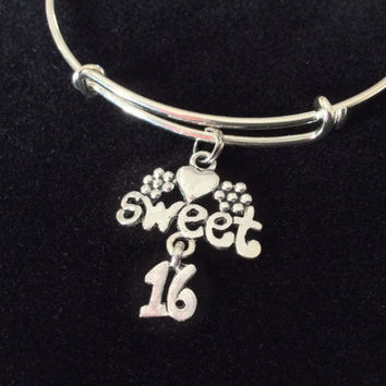 Sweet 16 Expandable Charm Bracelet Adjustable Bangle Gift Happy Birthday Sixteen Teenager Made in America